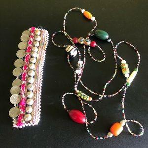 Boho hippie bracelet cuff beaded wrap necklace
